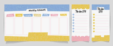 Cute Calendar Daily and Weekly Planner Template. Note Paper , to do list Set with linear school supplies Illustrations. Good for Kids. Organizer and Schedule with place for Notes.