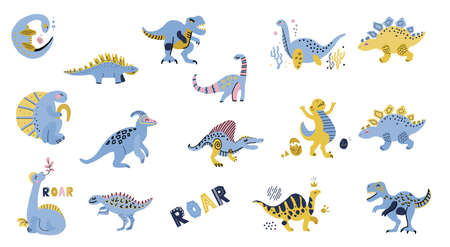 Cute dinosaurs set. Hand drawn collection. Doodle cartoon dinosaurs characters for nursery posters, cards, kids t-shirts. flat illustration Isolated on white background. Blue and yellow colors.