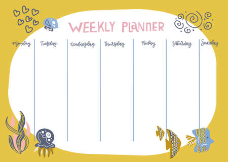 Weekly planner with funny underwater animals, seaweed and fishes in doodle cartoon style. Kids schedule design template.