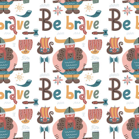 Childish seamless pattern with Vikings and lettering quote Be brave. Trendy Scandinavian flat background. Ilustração
