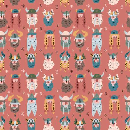 seamless pattern with hand drawn heads of many bearded Vikings with helmets on. illustration of northern rough warriors in doodle Scandinavian style.