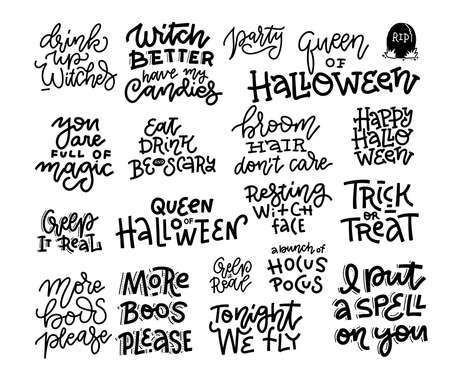 Set of 18 Halloween party hand lettering inscription, celebration quote, black and white calligraphy. Trendy illustration collection Ilustração