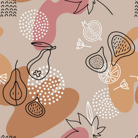 Linear Fig Seamless Pattern in line art style with color spots, geometric shapes. Autumn cozy background in flat doodle Scandinavian style.
