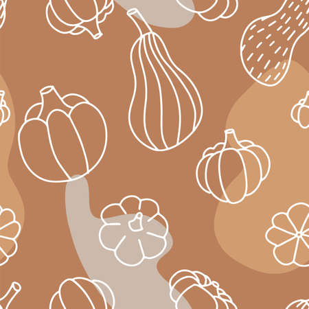Food seamless pattern in line art and doodle style. Abstract botanical print of pumpkins. Textile design texture. Autumn background flat illustration. Thanksgiving and Halloween symbol.