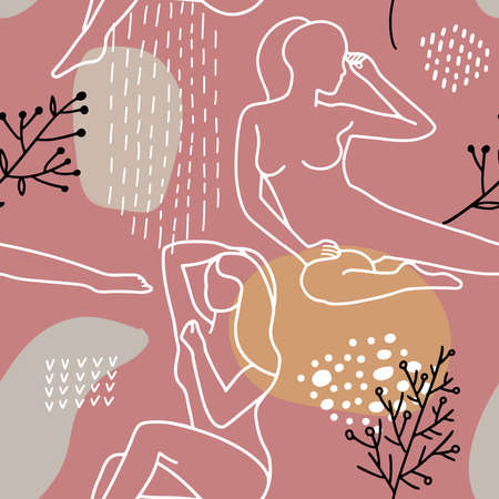 Abstract trendy seamless pattern with different shapes and women's silhouettes in warm earthy colors. Pink, beige, terracotta, mustard, pastel. Modern textile, branding, packaging. Line art