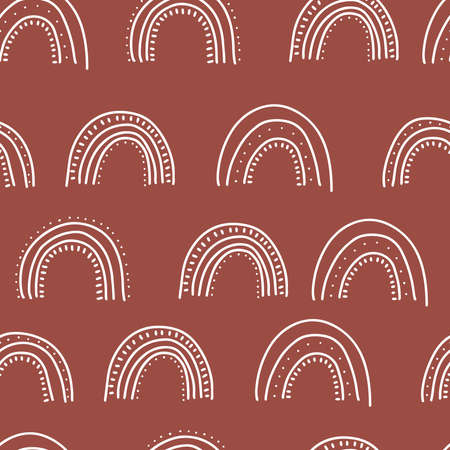 Fall themed doodle seamless pattern. Linear hand drawn rainbows. Ideal for branding, packaging design, all kind of textile, clothing, prints, scrap booking, web banners and backgrounds. Ilustração