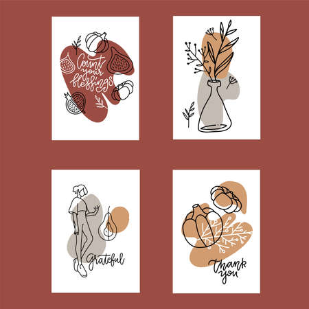 Collection of 4 Autumn poster templates. Greeting card set. abstract linear hand drawn illustration. Template for greeting, congratulations, invitations. Trendy cards desing for autumn holidays