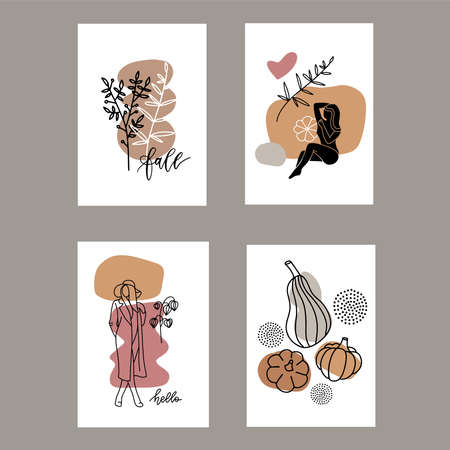 Set of autumn artistic greeting cards, invitations or posters. Pumpkins , branches and abstract geometric shapes. Minimalist drawings in A4 size. Fall, Thanksgiving or kitchen posters, wall art Ilustração
