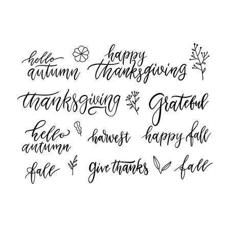 Autumn and Thanksgiving hand written brush lettering and doodles floral icons set, isolated on white. Seasonal calligraphy. Typographic design elements for stickers, gift tags, greeting cards.