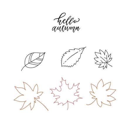 linear doodle illustrations. Hello autumn set. Linear leaves set. Collection minimalistic decoration.