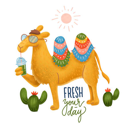 Adorable Camel in a glasses with a Plastic Cup of Smoothie. Humor card, t-shirt composition, hand drawn textured volume style print. illustration with lettering quote Fress your day Imagens - 157162517