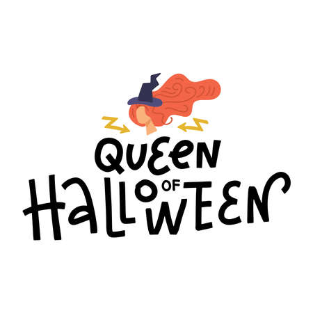 Queen of Halloween sign lettering text with illustration of witch head in hat. Halloween print, poster, invitation or banner. Ilustração