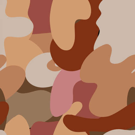 Autumn camouflage trendy seamless pattern of geometric shapes and doodles. Colorful pattern memphis style. Warm color dazzle paint Ilustração
