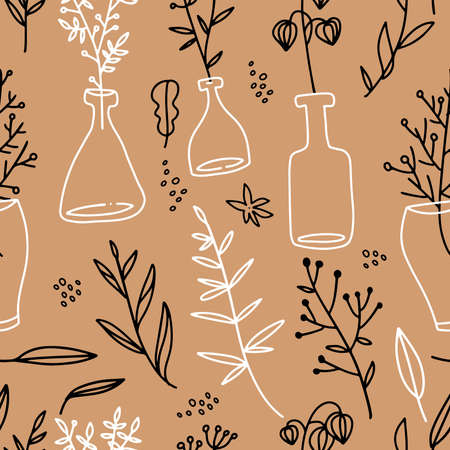 Seamless pattern with glass bottles which contain autumn leaves, flowers branches, berries. Line art hand drawn illustration. fall colors