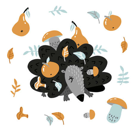 Childish hedgehog carrying apple and mushroom on its prickles. Funny autumn set with prickly animal. Cute woodland animalistic flat vector illustration for children design, print, stationery