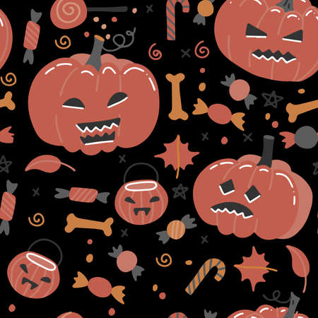 Halloween vector seamless pattern with pumpkins, bones and candy. Flat hand drawn autunm colors illustration. Imagens - 156928361