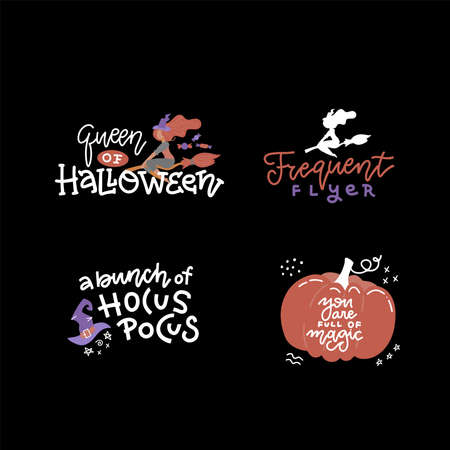Halloween typography, lettering set. Banner design, fabric print. Horror elements with funny text - Queen of halloween. frequent flyer, A bunch of hocus pocus. Halloween party labels. Vector design. Imagens - 156928362