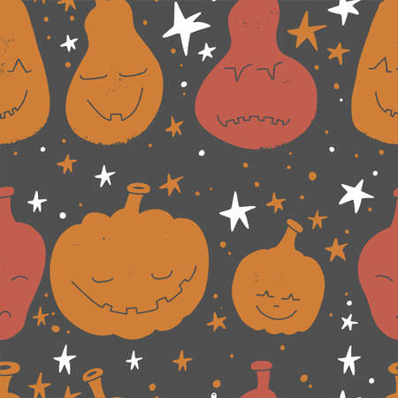 Abstract seamless pumpkin pattern for grunge halloween clothes. Creative vector halloween pattern with textured flat pumpkin scary face silhouettes. Funny pumpkin pattern for textile and fabric. Imagens - 156928363