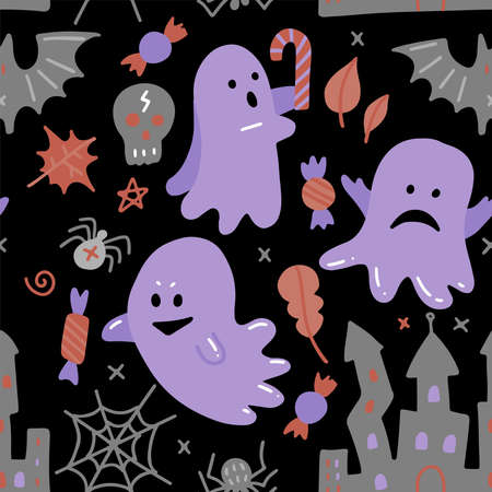 Halloween dark seamless pattern. Vector flat illustration with ghost, candy and other Halloween attributes. For printing, backdrop and textile. Imagens - 156928364