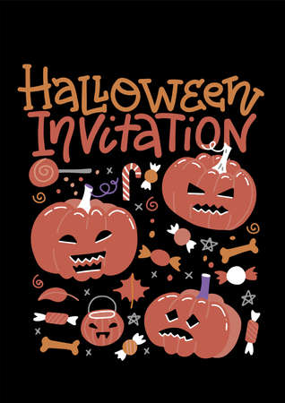Set of Halloween party invitation with pumpkins, candies and lettering text. Flat Hand drawn vector illustration. Design concept for banner, holiday background. Imagens - 156928365