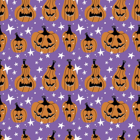 Halloween Seamless Pattern with Pumpkins and stars. Halloween Background with Jack-o-lantern. Colored Vector illustration in Flat style. Imagens - 156928366