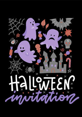 Halloween Concept invitation Banner with Ghosts and bats Icons Stickers on Backdrop. Vector Flat Illustration. Template for your design. Poster. Invitation to a party. Place for your text. Imagens - 156928413