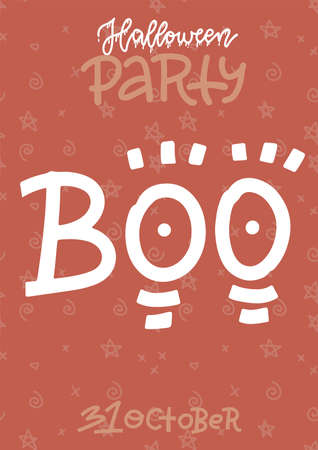 Funny Handwritten Halloween vertical poster template. Orange and White Irregular Shape Brush Letters on red Background. Halloween lettering Party banner. Cool Infantile Style Drawing for Card Imagens - 156928367