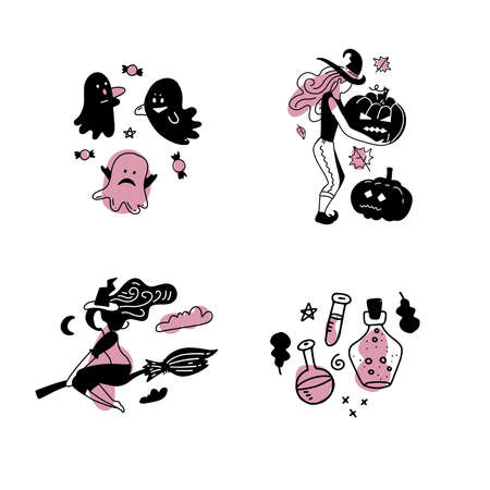 Happy Halloween Sticker Set with Witch Girl silhouettes side view. Vector flat linear illustration isolated on white background. Black stickers. Black and pink girlish concept. Imagens - 156928368