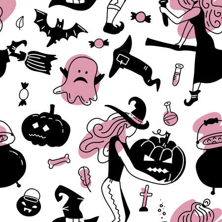 Hand drawn seamless vector pattern with cute witches gorls in Halloween costumes, on a white background. Scandinavian style flat design. Concept for girly textile print, wrapping paper. Black and pink Imagens - 156928412