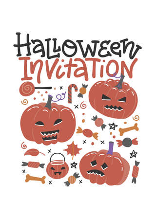 Halloween trick or treat promo poster flat vector template. October holiday celebration invitation flyer, brochure layout with text space. Creepy sweets and candies cartoon illustration Imagens - 156928400