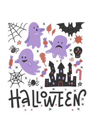 Flying ghost spirit on Haloween invitation template. Scary white ghosts. Cute cartoon spooky character. Happy Halloween. White background. Lettering Greeting card. Flat vector design. Imagens - 156928402