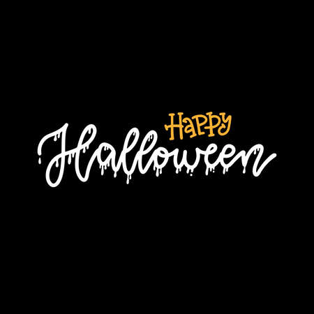 Happy halloween hand written lettering text. Happy Halloween funny calligraphy with drip. Vector linear illustration Imagens - 156928403