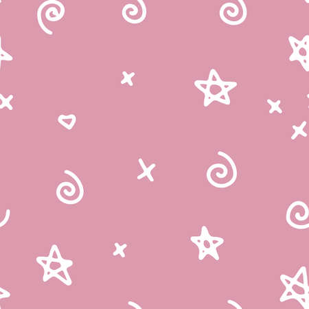 Seamless simple abstract pattern, hand drawn stars, curls, crosses, vectorlinear doodle illustration. Imagens - 156928510