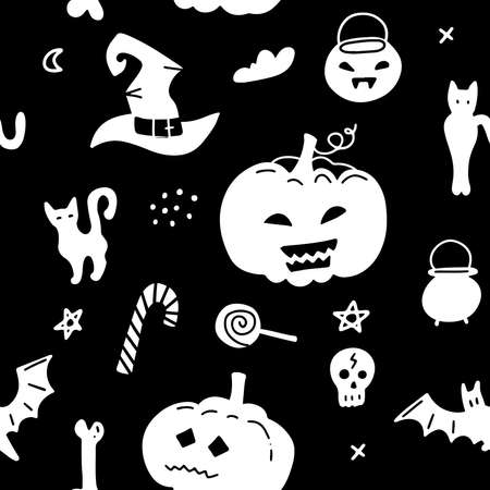 Vector halloween seamless pattern isolated on black background. Holiday elenets - cat, hat, candy and pumpkin. Silhouette simple design. Imagens - 156928511