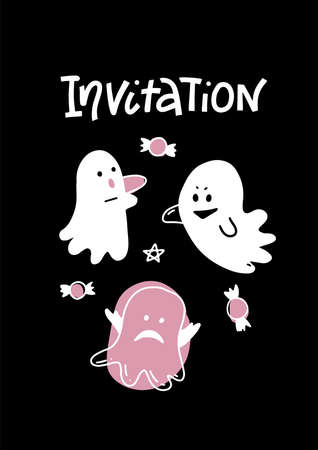 Cute ghosts vector illustration. Halloween greeting card, white characters on black background, empty space for typography, perfect for invitation, flyer or event poster. Lettering text Invitation. Imagens - 156928514
