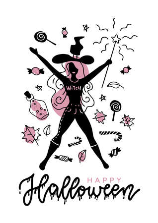 Young happy attractive witch holding a magic wand silhouette, for your Halloween advertise banner and card. Minimalistic trendy design with lettering. A4 size. Imagens - 156928517