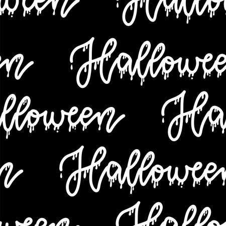 HALLOWEEN pattern seamless only with lettering text. Simple black and white silhouette illustration. Imagens - 156928518