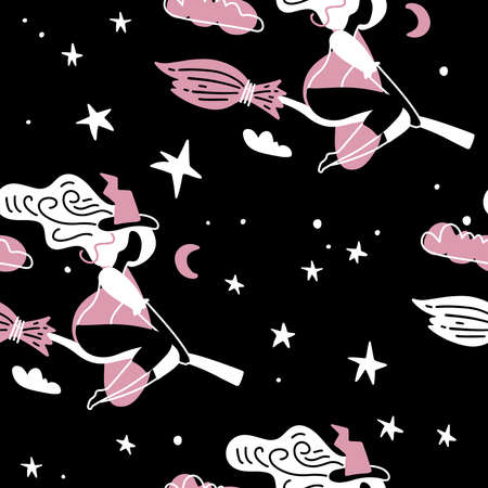 Cute young witch with broom fly on starry sky. Halloween night seamless pattern. Cartoon simple trendy charter in flat style. Imagens - 156928519