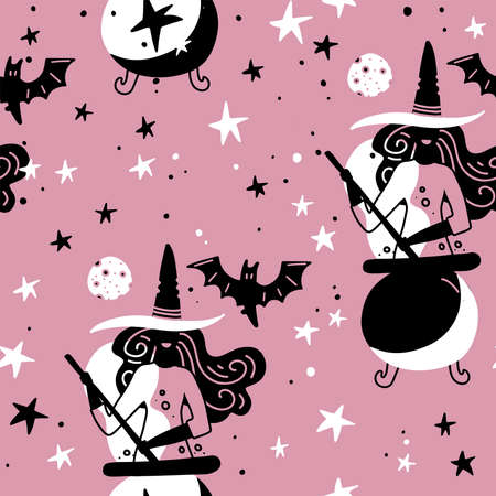 Seamless pattern with witches with cauldron, moon and bat. Simple silhouette girly illustration. magic pink night. Flat design for wrapping and textile. Imagens - 156928520