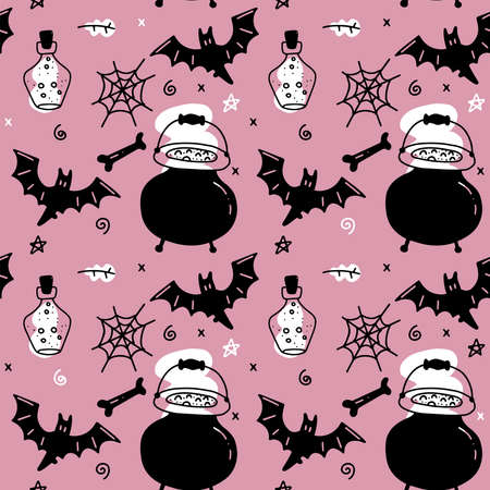 Halloween seamless pattern for girls. Endless pattern for background, scrapbook, wrapping paper, wallpapers. Black and pink- cauldron , spider web , glass flask, bat and witch attributes. Imagens - 156928523