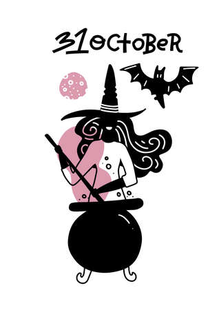 Young woman in witch hat and broomstick on white background with pot and bat. Holiday Happy Halloween concept design element for banner, greeting card. Vector minimalistic 31 october lettering text. Imagens - 156928524