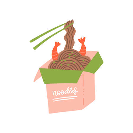 Wok box with shrimps and soba noodles. Traditional asian food. Chinese, Japanese cuisine. Fast food takeout in a box. Minimalistic flat hand drawn design. Isolated on white cartoon illustration Imagens - 156928526