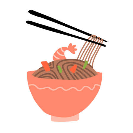 Buckwheat noodles in bowl and chopsticks are holding soba. Vector illustration of cooked soba noodles with shrimps, vegetables in cartoon simple flat style isolated on white background. Japanese food.