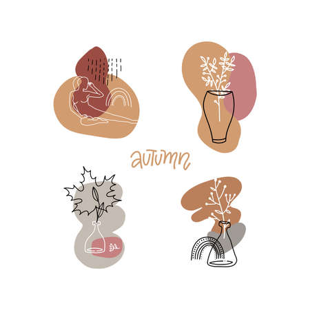 Set of abstract print concepts with autumn elements. Collage of various cut out paper shapes. Backgrounds for social media, stories with a linear silhouette of a girl, leaves ,glass vases, plants Imagens - 156928528