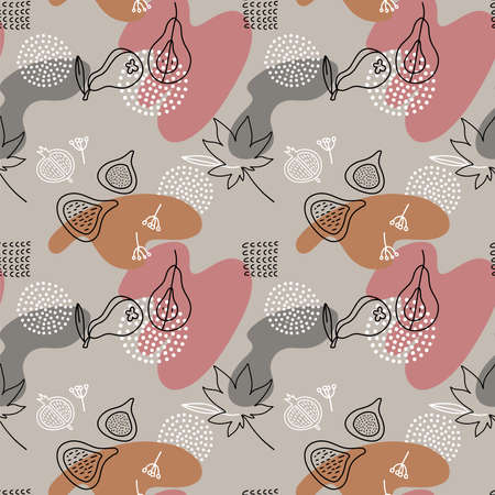 Cartoon Fig , paear, dots Vector Seamless Pattern in line art style with color spots. Abstract liquid hand drawn shapes.