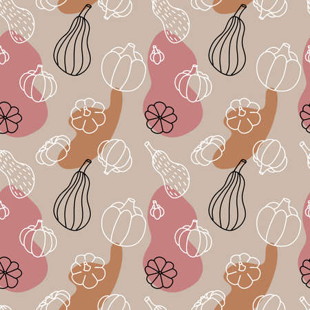 Autumn pumpkins seamless pattern, hand drawn sketch isolated on white background. Different varieties of pumpkins against background of autumn abstract shapes. Fall season. Linear vector design. Imagens - 156928530