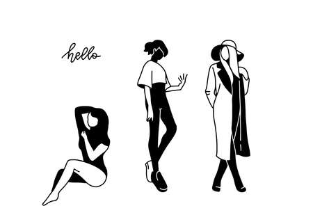 Set of Beautiful Female Sitting and staying Silhouettes. Abstract hand drawn illustration Concept for Beauty Salon, Barber Shops, Massage, Cosmetic, Spa or Yoga Centers. Flan and line style. Illustration