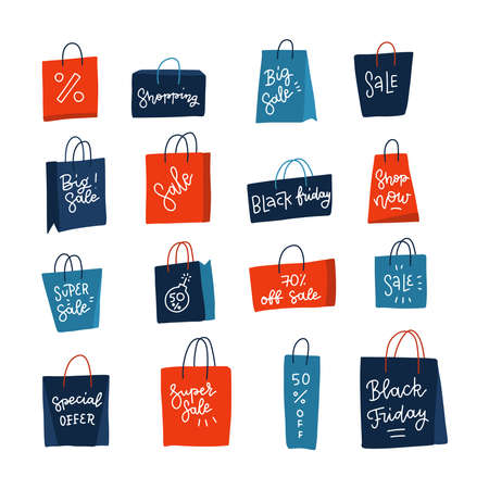 Color shopping paper bags with sales advertising lettering text. Big sale in clothing store. Set isolated on white backdrop. Black friday. For seasonal discounts, promotions. Flat vector illustrations Imagens - 156928534