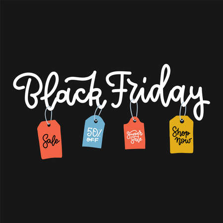 Black friday lettering for sale with colorful tags advertising on black background. Hand drawn flat vector illustration. Concept for ad banner. Imagens - 156928537