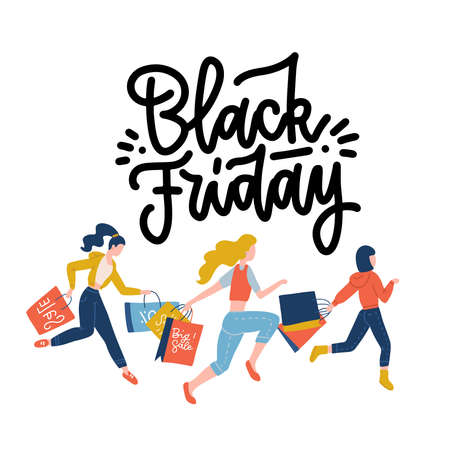 Black Friday crowd of women running to the store on sale holding shopping paper bags. Discount concept. Shopping banner. Female Character. Flat design vector illustration. Woman shopper.